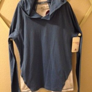 Soffe Blue Youth XL /Woman S Tee LS Hoodie Top NWT